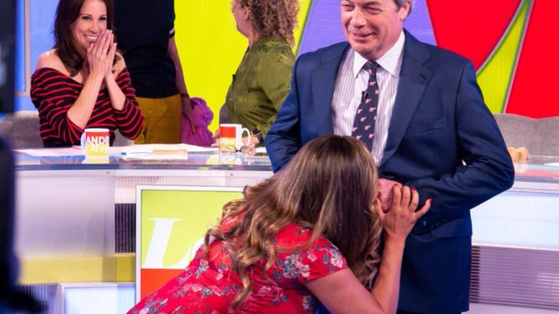 Kelly Brook Blows A Raspberry On Nigel Farage's Stomach On 'Loose Women'