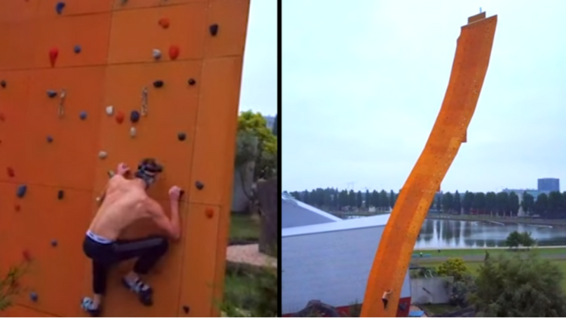 British Daredevil Free-Climbs The World's Tallest Freestanding Climbing Wall