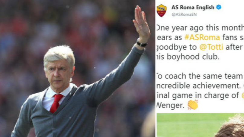 AS Roma Leave Departing Arsene Wenger A Class Message