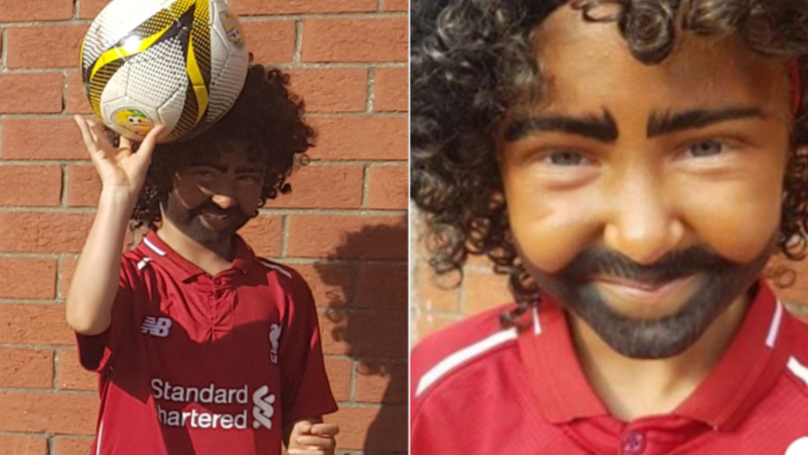 9-Year-Old Liverpool Fan Controversially Dresses Up As Mo Salah For Halloween