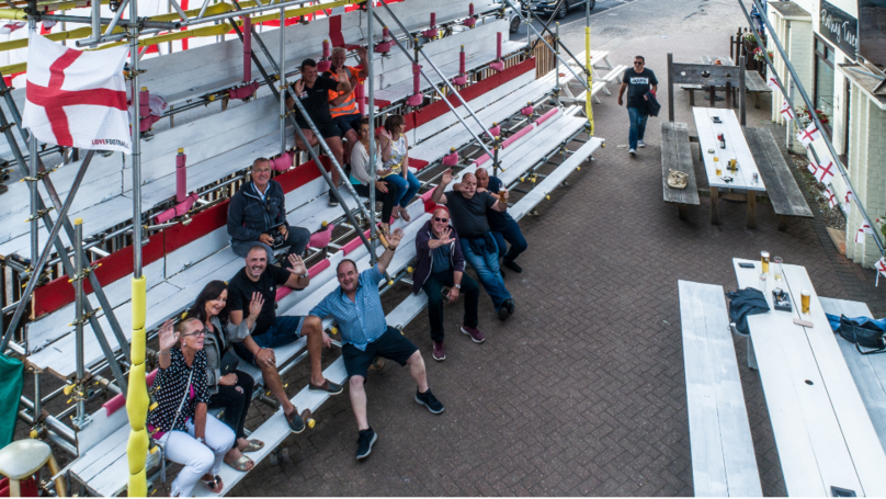 Landlord Builds Massive Grandstand So Regulars Can Enjoy The World Cup
