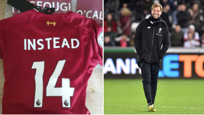 Liverpool Fan Gets 'Instead 14' On The Back Of His Shirt After Hilarious Mishap