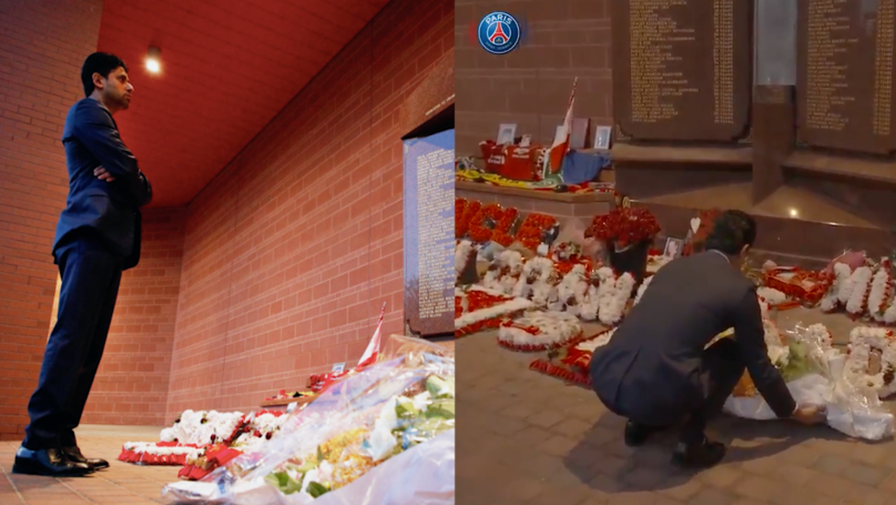 Watch: PSG's President Pays Fitting Tribute To Hillsborough Victims At Anfield