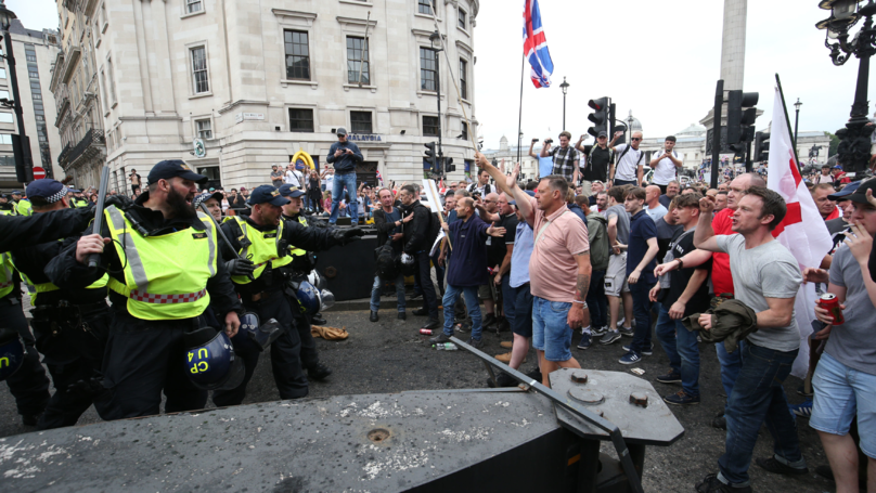 Protestors Clash With Police At Tommy Robinson Rally In London