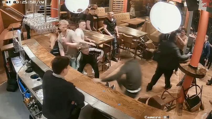 CCTV Captures 21-Man Bar Brawl In Leeds