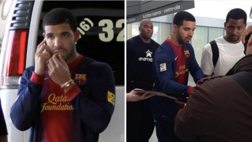 Man Utd Post Picture Of Drake Wearing Barcelona Shirt Ahead Of Champions League Clash