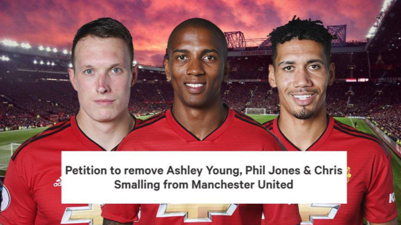 Manchester United Fans Start Petition To Remove Ashley Young, Phil Jones And Chris Smalling