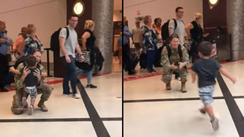Military Mum In Tears As She's Reunited With Son, 2, After Deployment In Middle East