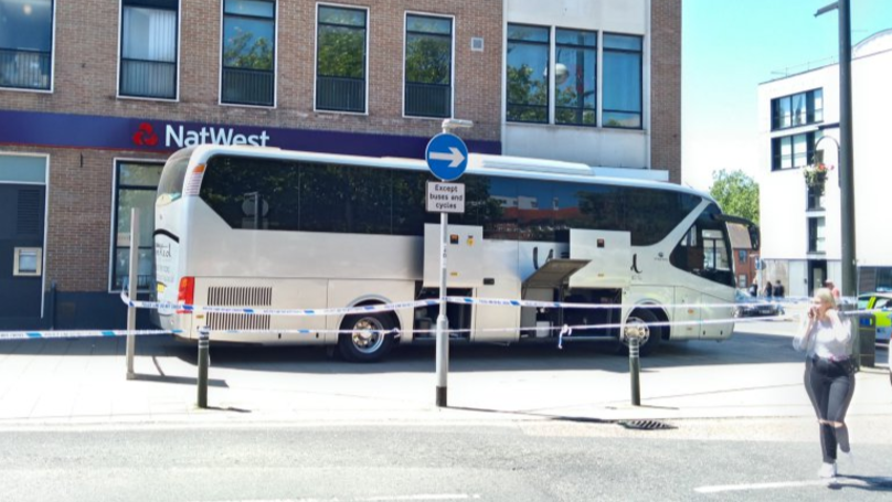 Angry Coach Driver Blocks Off NatWest Bank Entrance In 'Peaceful Protest'