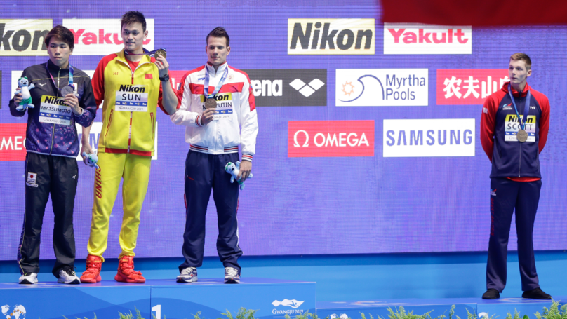 British Swimmer Duncan Scott Refuses To Join Drugs Cheat Sun Yang On The Podium