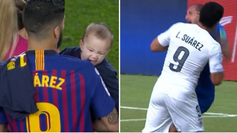 Luis Suarez's Toddler Bit His Dad's Shoulder During Barcelona's Title Celebrations