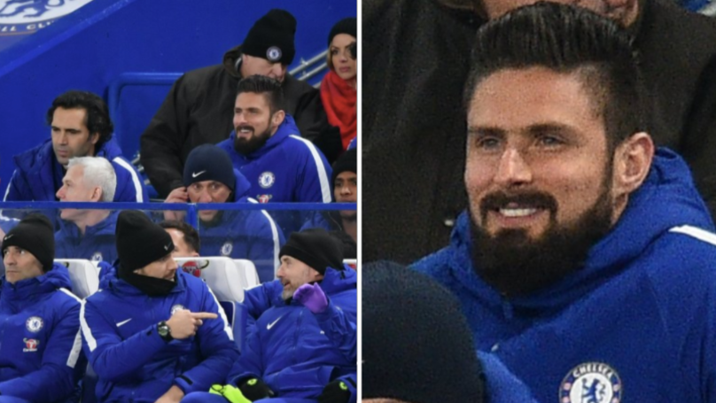 People Realised Something About Olivier Giroud While He Watched Chelsea Defeat