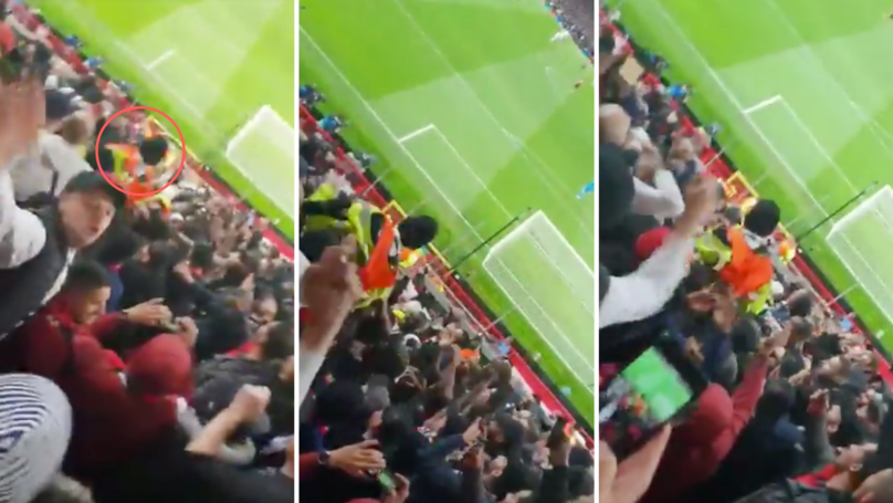 PSG Fans Give Manchester United Steward A Helping Hand With Brief Crowd Surfing