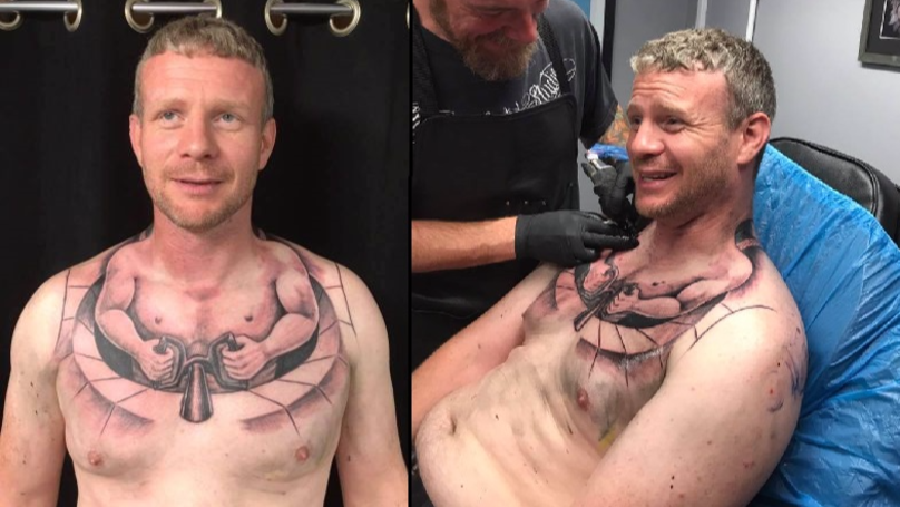 Trucker Gets Tattoo Of Tiny Man Driving His Body