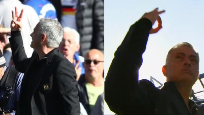 Mourinho Responds To Chelsea Fans Who Chanted 'F*ck Off Mourinho' With Three-Finger Gesture