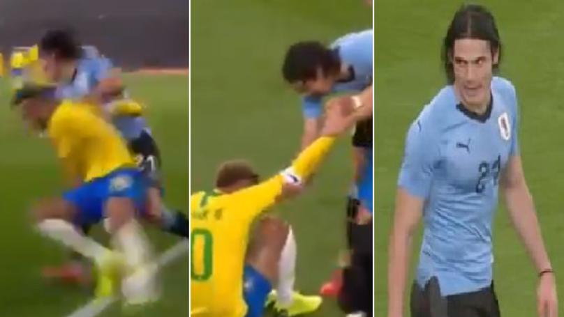 Edinson Cavani Takes Out Neymar During International Friendly