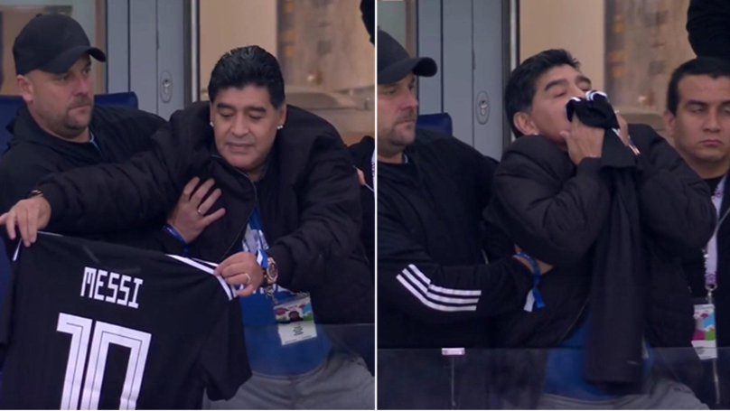 Diego Maradona Holds Lionel Messi Shirt In The Air And Kisses It