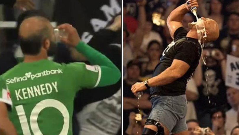 Swedish Player Kennedy Catches And Downs Beer After Scoring Ridiculous 30-Yard Free-Kick