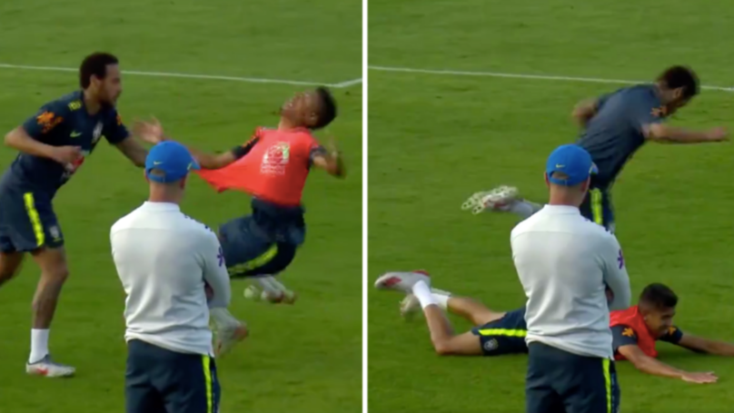 Neymar Throws 19-Year-Old Right-Back To The Floor After Being Nutmegged In Training