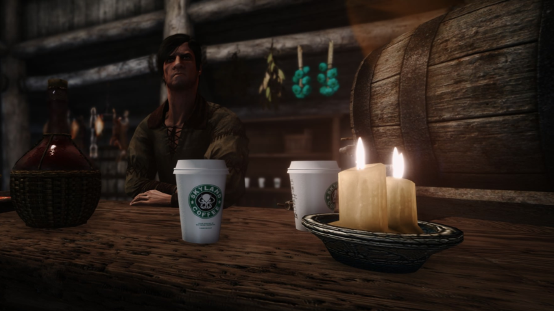 Cheeky Mods Add 'Game Of Thrones'-Recalling Starbucks Coffee Cup To 'Skyrim'