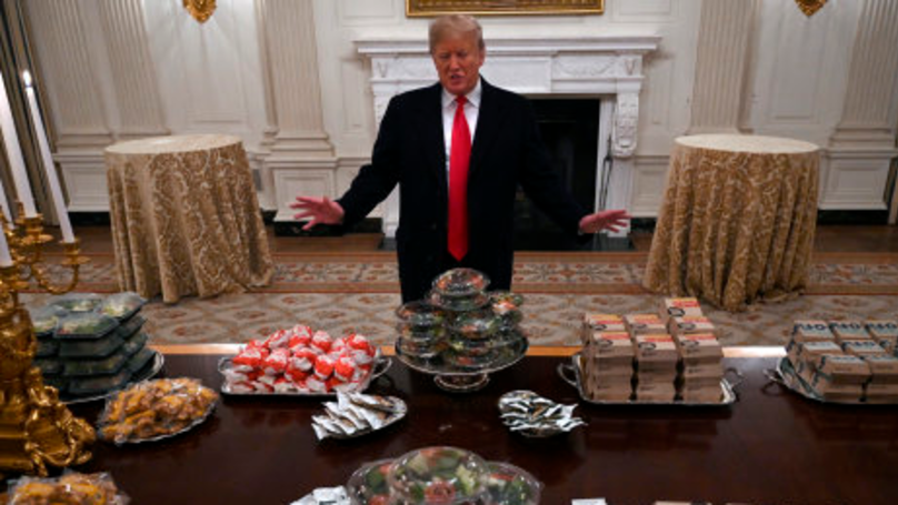 Donald Trump Serves Football Team McDonald's Banquet At White House