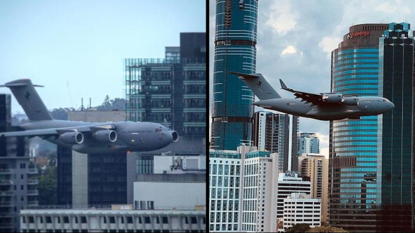 Terrifying Moment Plane Flies Towards Buildings In 'Dangerous' Stunt