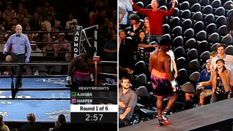 Shocking Moment Boxer Walks Out Of The Ring After Start Bell Rings