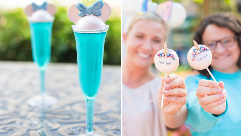 Disney World's Serving Blue Sparkling Wine Topped With Chocolate Minnie Mouse Ears