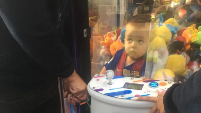 Boy, 3, Gets Stuck In Arcade Claw Machine Trying To Get A Teddy Bear
