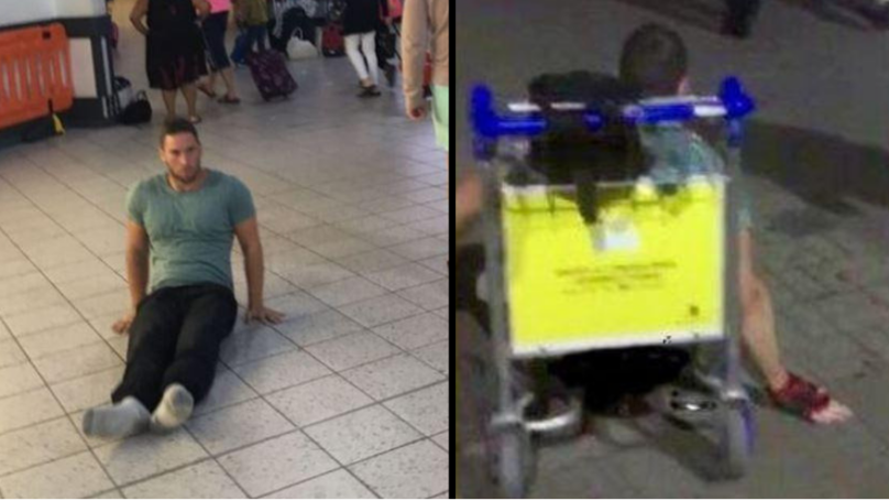 Paraplegic Athlete Left 'Humiliated' After Having To Drag Himself Across Airport Floor