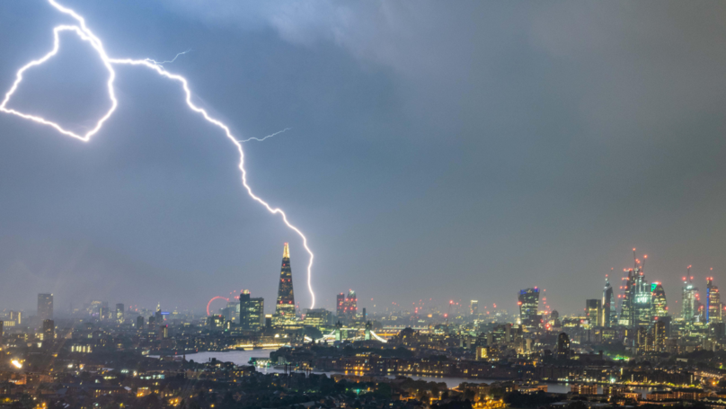 Incredible Bolt Of Lightning Dwarfs The Shard In London