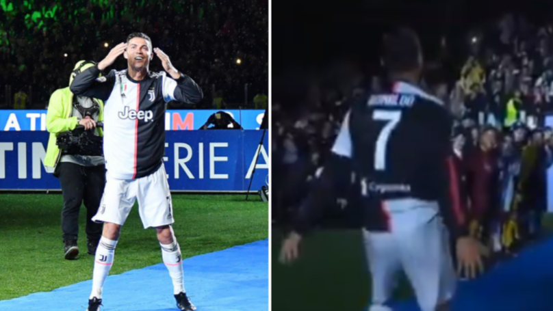 "Entire Allianz Stadium Join In With Cristiano Ronaldo's ""SIUUUUUU"" At Scudetto Title Party"