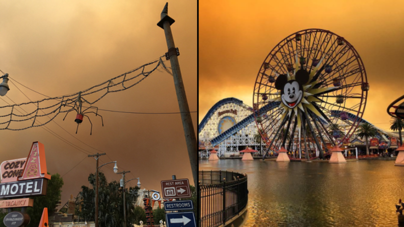 Disneyland Casts An Eerie Picture As Wildfires Blow Across California
