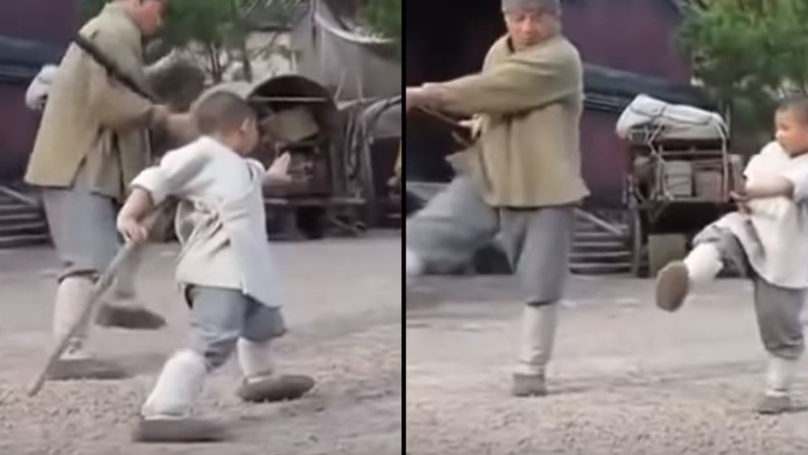 ​Incredible Video Shows Jackie Chan Learn Shaolin Fighting Techniques From A Kid