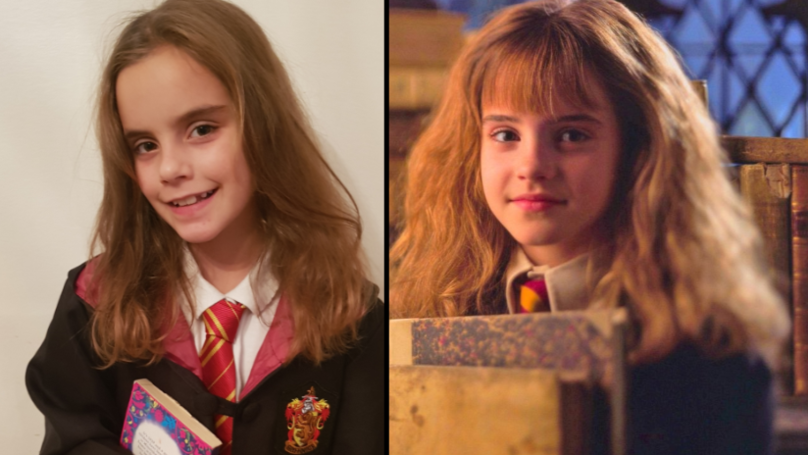 小女孩看起来很像哈利波特的赫敏在街上人阻止她