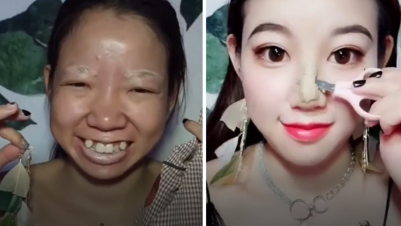 Woman Transforms Into Completely New Person With Extreme Make-Up And Tape