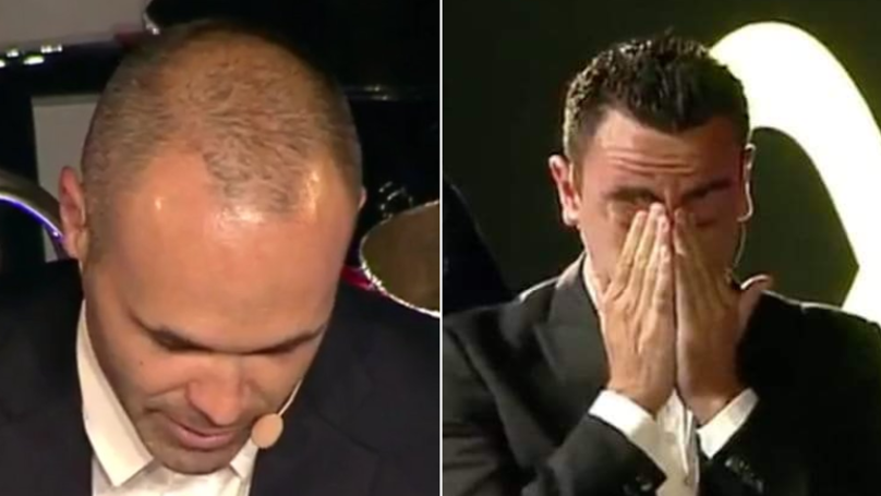 Xavi Breaks Down In Tears After Andres Iniesta Gives Moving Farewell Speech