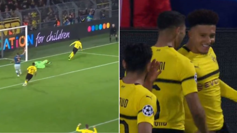 Jadon Sancho Scores His First Champions League Goal For Borussia Dortmund