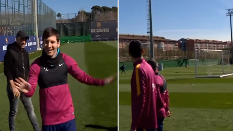 When Lionel Messi Was Challenged To Score From Behind The Goal