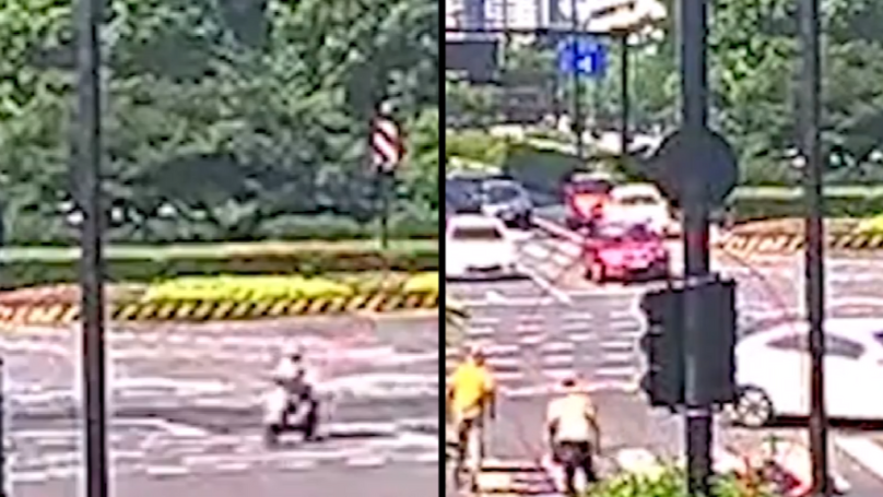 Woman Knocked Off Her Scooter Before Falling Straight Down A Manhole