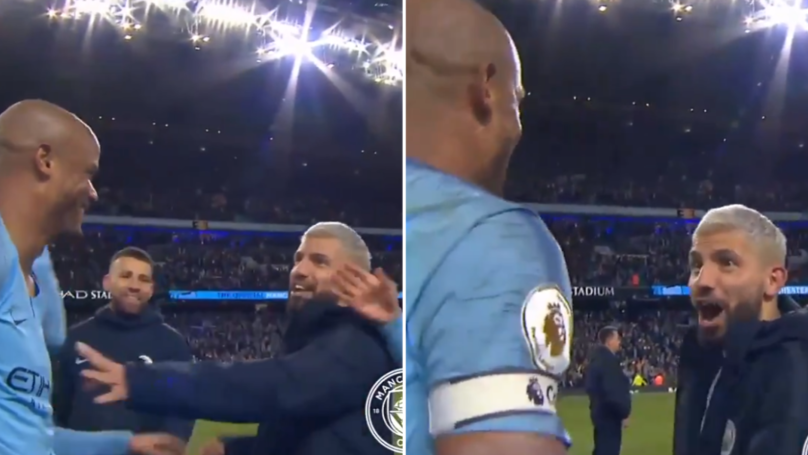 Sergio Aguero Tells Vincent Kompany In English He Didn't Want Him To Shoot