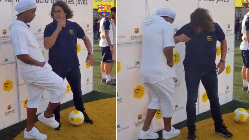 Ronaldinho Meets Up With Carles Puyol, Casually Nutmegs Him