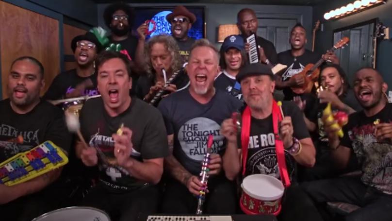 Metallica Play 'Enter Sandman' With Jimmy Fallon On Kids' Toy Instruments