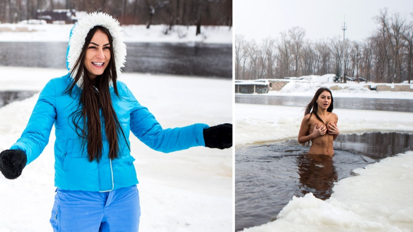 Woman Claims Swimming Naked In Freezing Conditions Keeps Her Young
