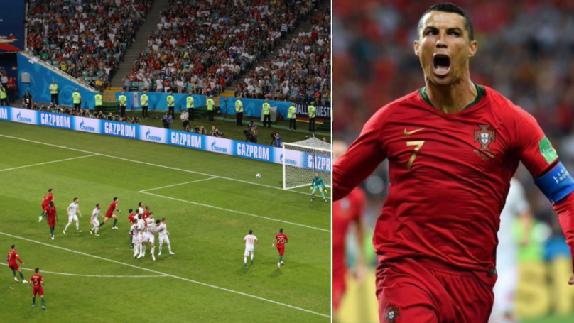 Cristiano Ronaldo Scores Incredible Free Kick Against Spain, THE GOAT