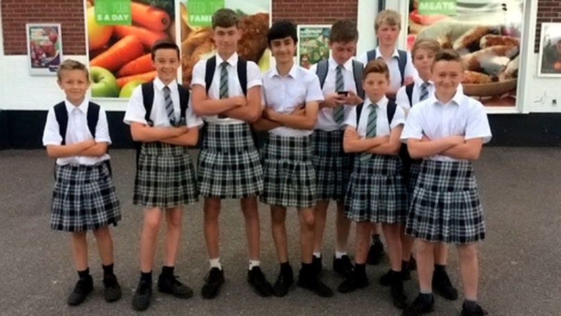 Young LADs Defy 'Shorts Ban' By Wearing Skirts To School | LADbible