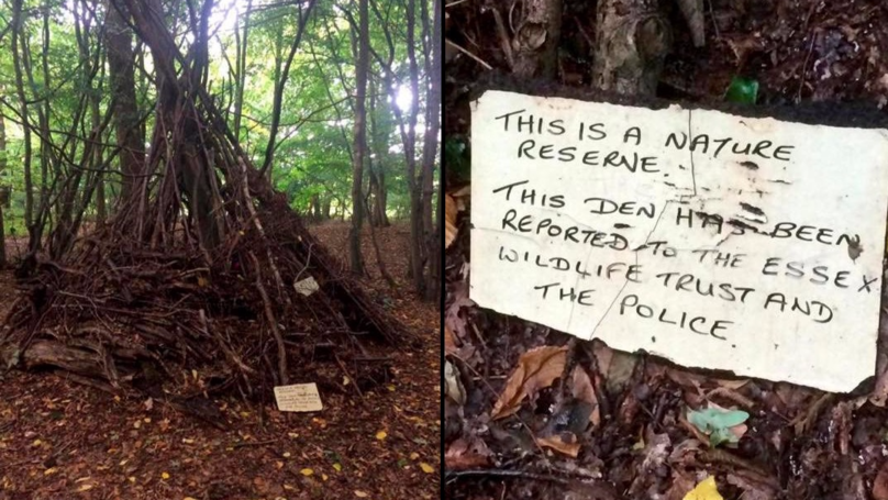 Dad Furious Over Threatening Note Left On Sons' Woodland Den