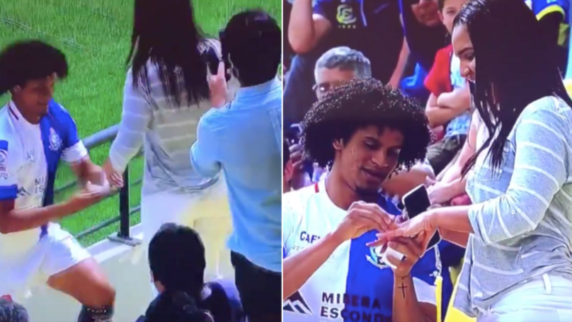 Venezuelan Striker Eduard Bello Celebrates By Jumping Into Stands To Ask Girlfriend To Marry Him