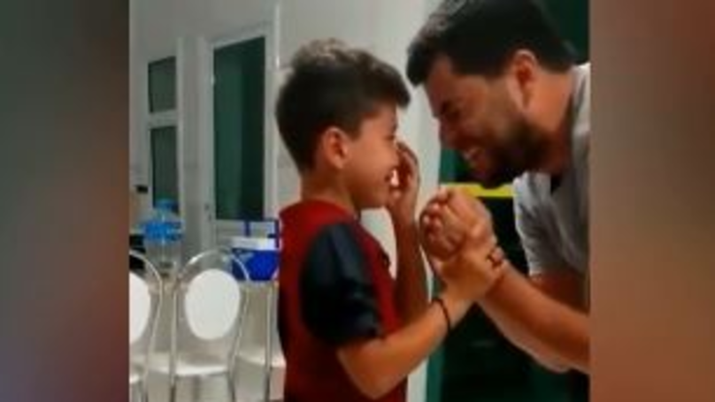 Emotional Moment Young Deaf Boy Sobs As He Hears His Dads Voice For First Time In Weeks