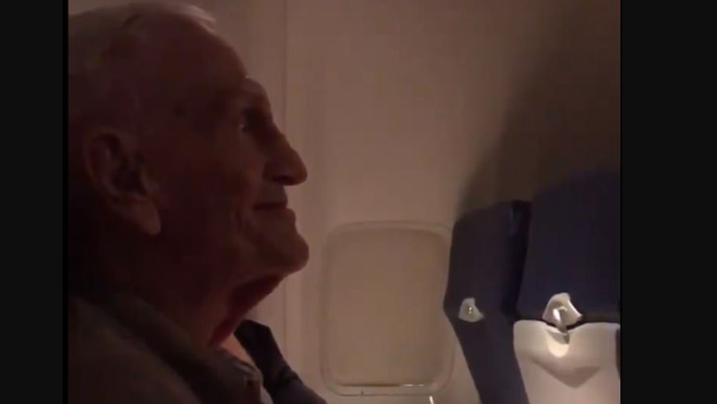 Cabin Crew Sing Happy Birthday To World War II Veteran